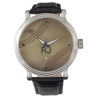 Vintage Looking Baseball with Custom Monogram Wristwatch