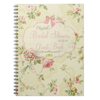 Vintage Looking Floral Bridal Shower Guest Book- Notebook