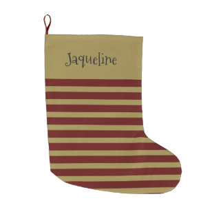 Vintage looking Striped Large Christmas Stocking