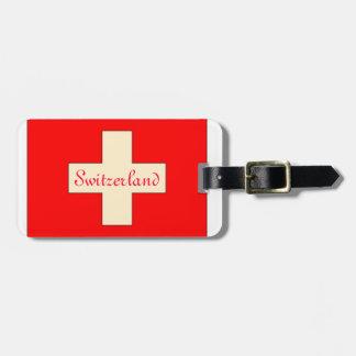 Vintage looking Swiss flag luggage tag