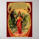 vintage Lotus Flower Hindu Goddess Lakshmi Poster