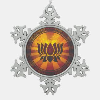 Vintage Lotus Flower Snowflake Pewter Christmas Ornament