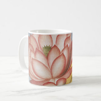 Vintage Lotus Flowers With Leaves in a Pond Coffee Mug