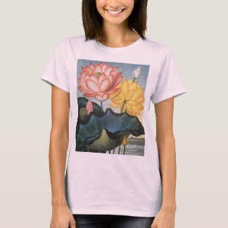 Vintage Lotus Flowers With Leaves in a Pond T-Shirt