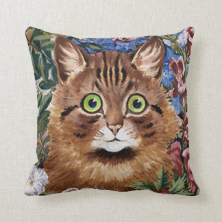 VINTAGE LOUIS WAIN CAT IN FLOWER GARDEN THROW PILLOW