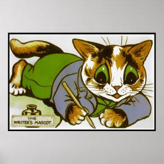 Vintage Louis Wain Cat Writer Mascot Poster Print