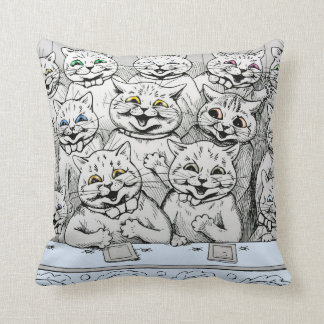 Vintage Louis Wain Cats at the Theatre Cushion
