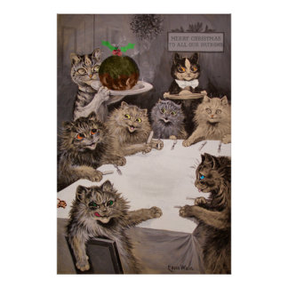 Vintage Louis Wain Cats Christmas Party Poster