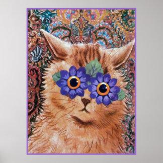 Vintage Louis Wain Hippie Flower Cat Art Poster