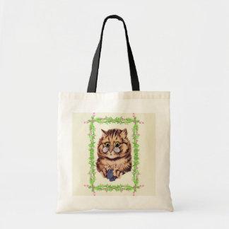 Vintage Louis Wain Knitting Cat Art