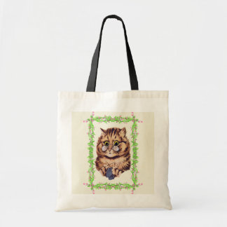 Vintage Louis Wain Knitting Cat Art Tote Bag