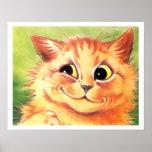 Vintage Louis Wain Smiling Ginger Cat Poster Print