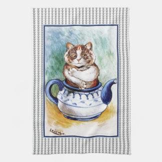Vintage Louis Wain Teapot Cat Paw Print Tea Towel
