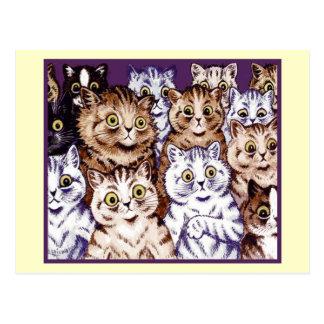 Vintage Louis Wain Wonderment Cats Postcard