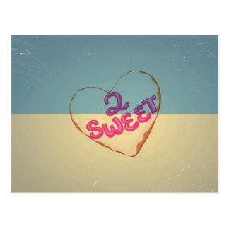 Vintage Love 2 Sweet Heart. Retro Blue Cream Sepia Postcard