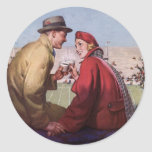 Vintage Love and Romance, Couple at Football Game Round Sticker