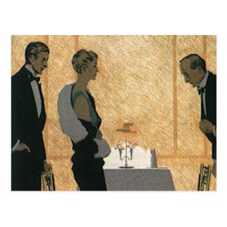 Vintage Love and Romance, Couple Elegant Dinner Postcard