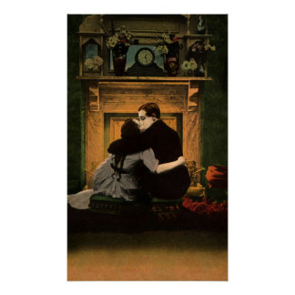 Vintage Love and Romance Couple Romantic Fireplace Poster