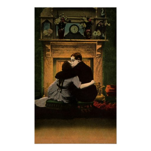 Vintage Love and Romance Couple Romantic Fireplace Posters