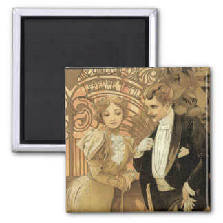 Vintage Love and Romance, Flirt by Alphonse Mucha Refrigerator Magnets