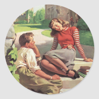 Vintage Love and Romance, High School Sweethearts Classic Round Sticker