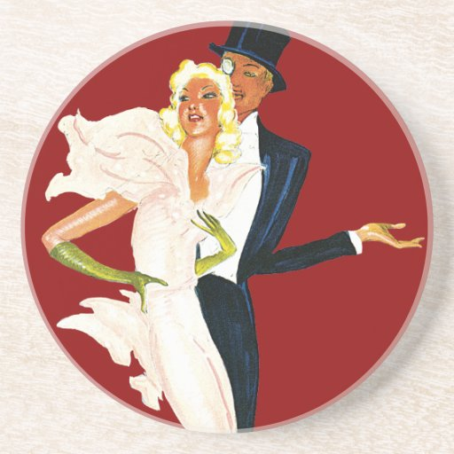 Vintage Love and Romance, Modern Wedding Couple Beverage Coasters