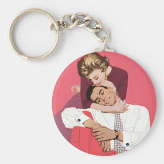 Vintage Love and Romance, Newlyweds in Pink Key Ring