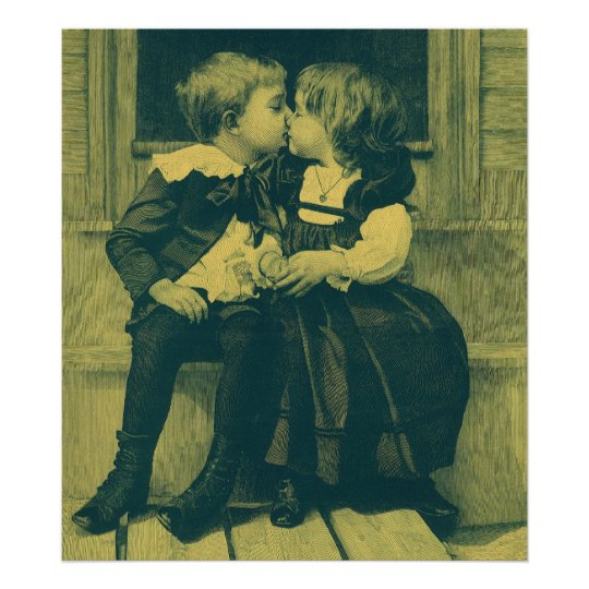 Vintage Love and Romance Photo, Children Kiss Poster