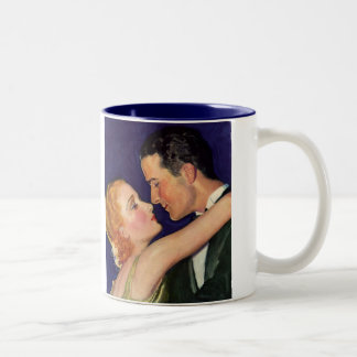 Vintage Love and Romance, Retro Hollywood Movies Two-Tone Coffee Mug