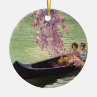 Vintage Love and Romance, Romantic Canoe Ride Christmas Ornament