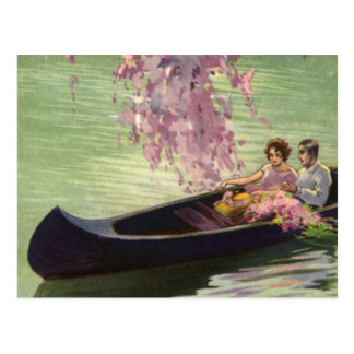 Vintage Love and Romance, Romantic Canoe Ride Postcard