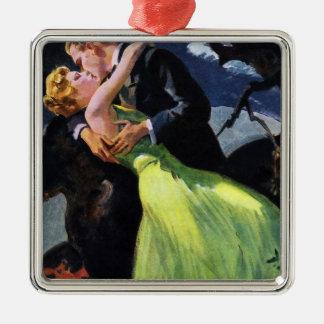 Vintage Love and Romance, Romantic Kiss Silver-Colored Square Decoration