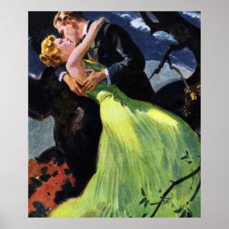 Vintage Love and Romance Romantic Kiss Print