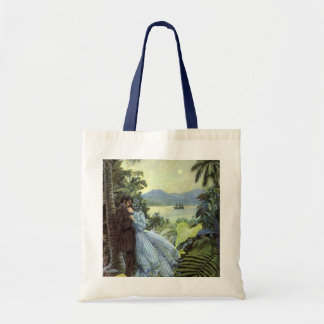 Vintage Love and Romance, Romantic Tropical View Budget Tote Bag