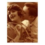 Vintage Love and Romance, Sports Tennis Couple Postcard