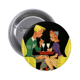 Vintage Love and Romance, Teens at the Soda Shop 6 Cm Round Badge