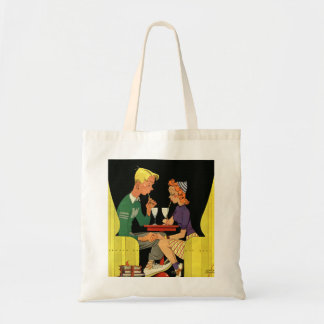 Vintage Love and Romance, Teens at the Soda Shop Budget Tote Bag