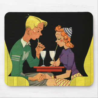 Vintage Love and Romance, Teens at the Soda Shop Mouse Pad