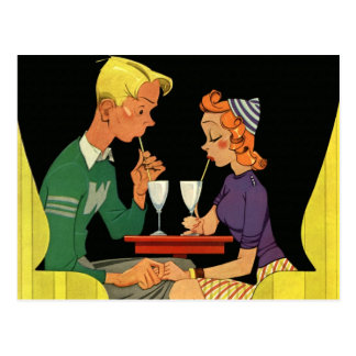 Vintage Love and Romance, Teens at the Soda Shop Postcard