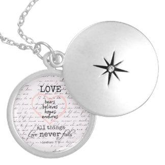 Vintage Love Bible Verse Locket Necklace
