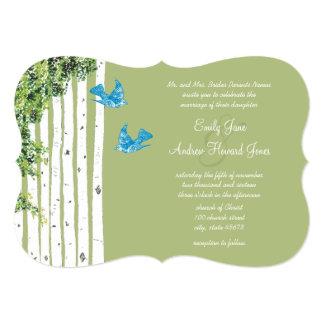Vintage Love Bird Birch Tree Wedding Invitations