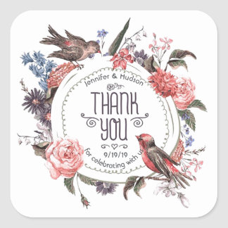 Vintage Love Bird Floral Thank You Wedding Custom Square Sticker