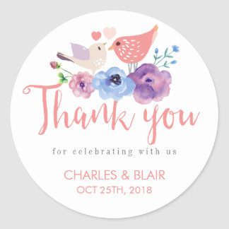 Vintage Love Bird Floral Thank You Wedding Sticker