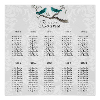 Vintage Love Bird Seating Chart click customize Posters