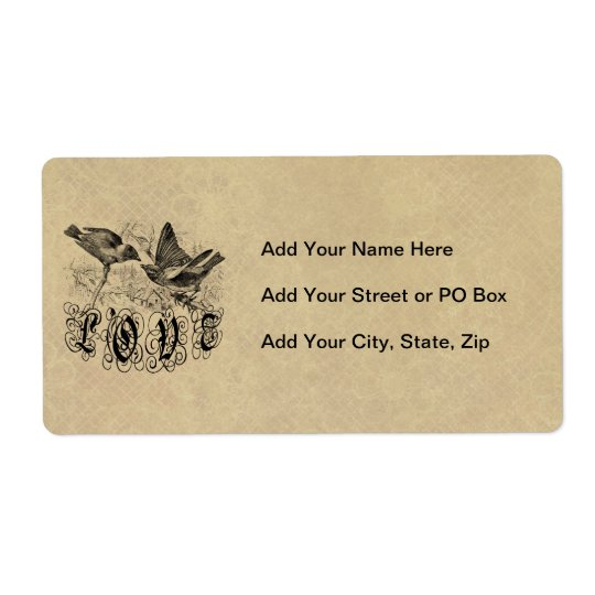 Vintage Love Birds Apparel and Gifts Shipping Label