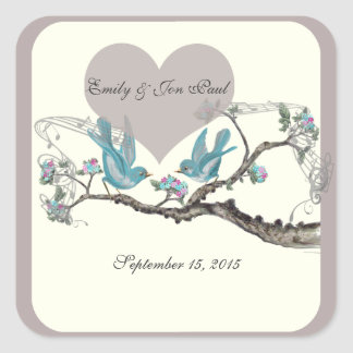 Vintage Love Birds Aqua Hot Pink and Gray Square Sticker