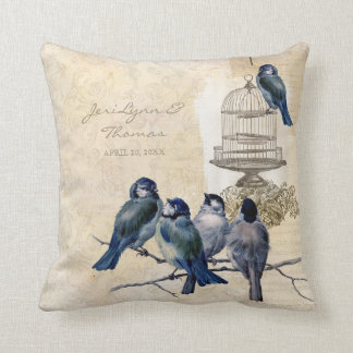 Vintage Love Birds Birdcage Postage Personalized Pillow