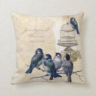 Vintage Love Birds Birdcage Postage Personalized Throw Cushion