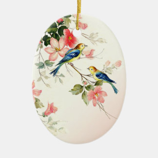 Vintage Love Birds | blush pink white Christmas Ornament