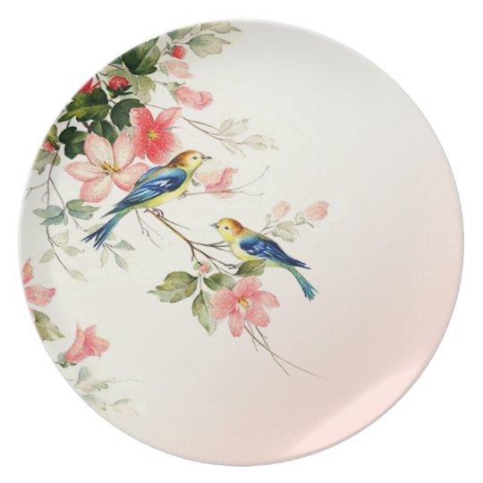 Vintage Love Birds | blush pink white Plate